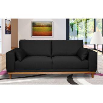 Canapé 3 places fixes pieds bois massif en tissu anthracite noir - MARIE -  Achat   prix   fnac 75430278c2a5