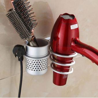 Sèche cheveux en métal Peigne Support mural pour salle de bain plat spirale Support à Hanger Kiliaadk52