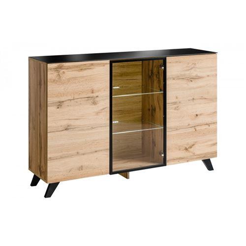 Buffet, bahut moyen modèle MALAGA. Coloris chêne wotan et noir. Meuble design pour votre salle à manger.