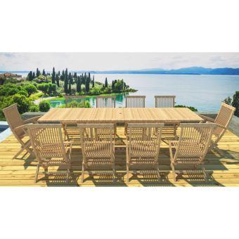 Kajang salon de jardin teck massif 12 pers table Mobilier de jardin en teck massif