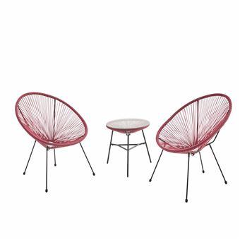 Lot de 2 fauteuils ACAPULCO forme d\'oeuf avec table d ...