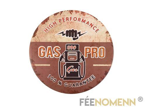 plaque métal déco vintage - forme arrondie - gas pro station service (diam. 30cm)