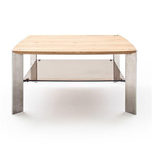 Table basse NEVERS en bois de chêne massif huilé et acier 80 x 80 cm