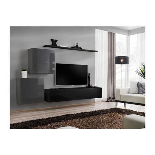 Ensemble meuble salon SWITCH V design, coloris noir et gris brillant.
