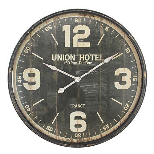 Pendule Hôtel - Diam. 90 cm. - Métal - Noir