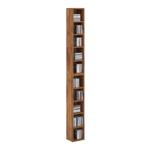 Etagères modulables MUSIQUE pour CD et DVD, lot de 2 meubles de rangement en colonne avec 10 compartiments en mélaminé couleur noyer