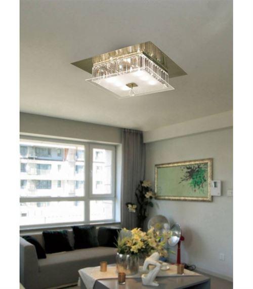 Plafonnier Tosca carré 6 Ampoules laiton antique/verre/cristal