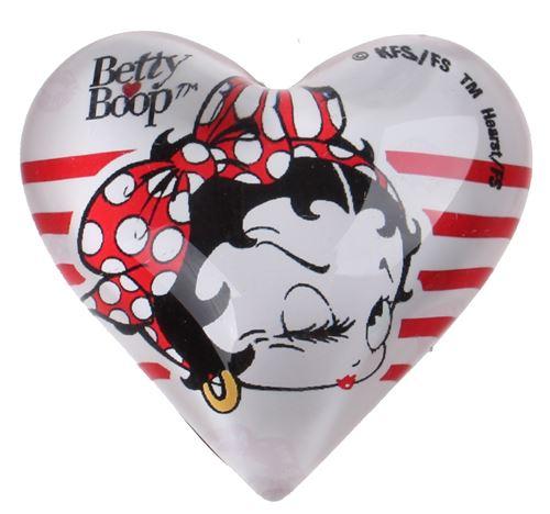 Kamparo aimant coeur Betty Boop 4 cm verre blanc/rouge