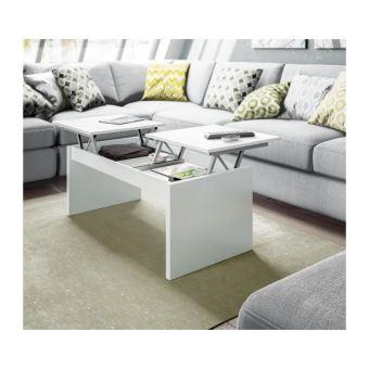 Table Basse Relevable 2 Plateaux Blanc L 102 X P 43 X H 50 Cm