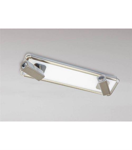 Plafonnier/Applique Ibiza 2 Head avec Backlit Ampoules 20W LED nickel satiné 4000K, 1500lm,