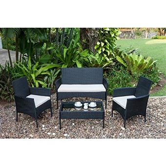 Salon de jardin Rio 1 table basse, 2 fauteuils et 1 ...