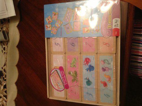 Disney Princess - 3 JEUX EN BOIS, y compris les dominos, la correspondance des nombres, la correspondance des couleurs. 3-8 ans