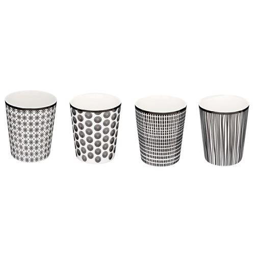 4 Mugs ethnique Bohemia - 260 ml - Noir et blanc