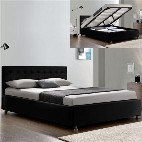Lit complet sommier relevable + tête de lit + cadre de lit Capitole - Noir - 160x200