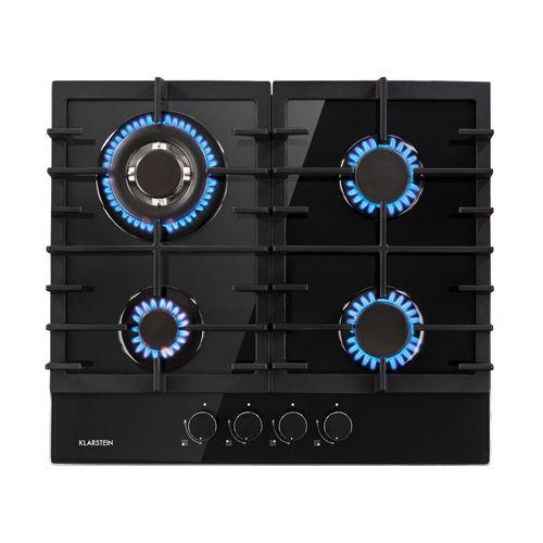 Klarstein Ignito 4 Table de cuisson gaz - plaque de 4 foyers ( 3,6 + 1 kW + 2x 1,75 kW) - revêtement vitrocéramique - noir