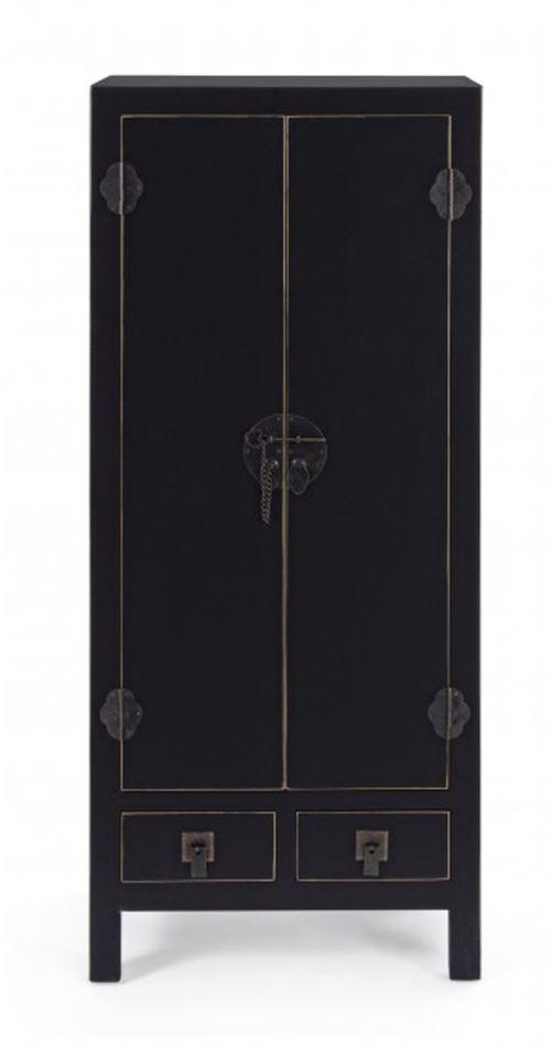 Meuble avec 2 portes et 2 tiroirs coloris Noir - Dim : L 50 x P 34.5 x H 121 cm -PEGANE