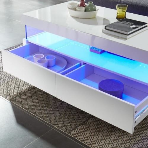 SEZANNE L x LED style contemporain Table 60 laque basse cm blanc 120 l avec brillant v7Yf6gyIb