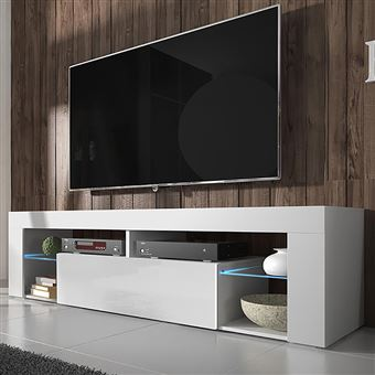 hugo meuble tv blanc mat blanc brillant avec led achat prix fnac. Black Bedroom Furniture Sets. Home Design Ideas