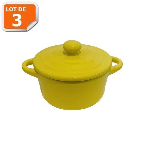 Lot de 3 mini cocottes jaunes double poignée avec couvercle HobbyCook
