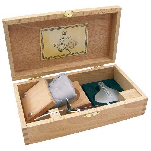 Coffret complet Set à huîtres - 4 Accessoires - Couteau à huîtres, Presse-citron, Bloc huîtres, Manique - Acier inoxydable, bois de palissandre - Coffret cadeau