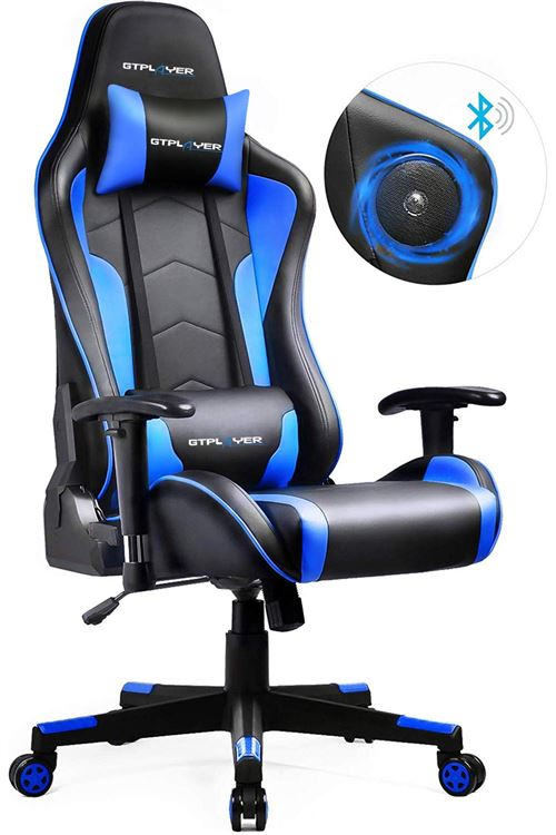 GTPLAYER Chaise Gaming de Bureau Fauteuil de Bureau Chaise Gamer Music avec Haut-Parleur Bluetooth, Design Ergonomique Bleu