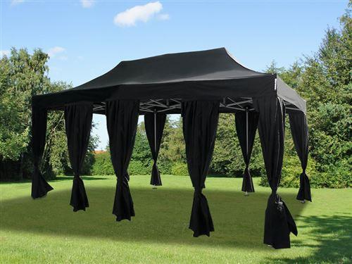 Tente pliante Chapiteau pliable Tonnelle pliante Barnum pliant FleXtents Steel 4x8m Noir, incl. 10 rideaux decoratifs