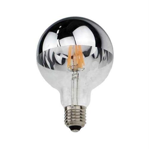 Ampoule E27 LED Filament 4W G95 Reflet Argent - Blanc Chaud 2300K - 3500K - SILAMP