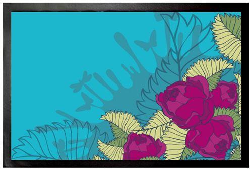 Fleurs Paillasson Essuie-Pieds - Roses Fuchsia (40x60 cm)