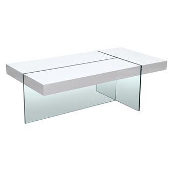 Table Basse Rectangulaire En Bois Et Verre Trempe L120cm Medley