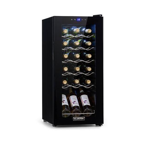 Klarstein Shiraz 18 Slim Uno, Cave à vin réfrigérée compacte 50 L / 18 bouteilles, classe G - Noire