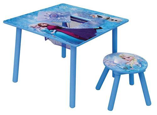 FUN HOUSE Disney Reine des Neiges Table Carrée avec Rangement/Tabouret pour Enfant, MDF, 65 x 65 x 10 cm