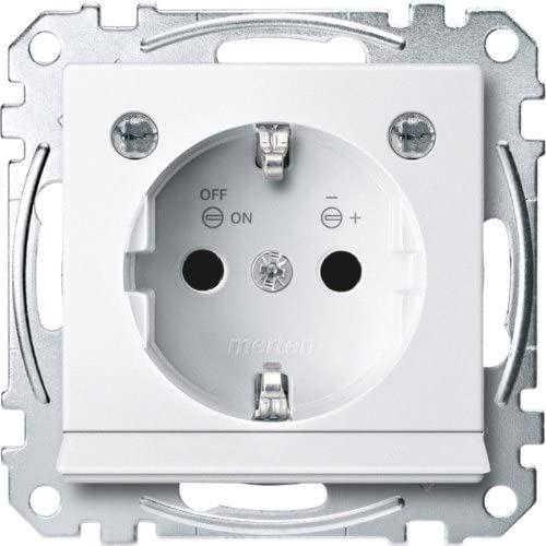 Merten MEG2304-0419 Prise SCHUKO avec éclairage LED et protection de contact, système M Blanc