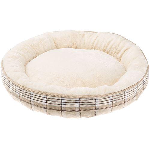 Ferplast couchage rond pour chiens et chats LAGOON 50, coussin pour animaux, fourrure douce et écologique, lavable, Ø 53 x 10 cm, beige