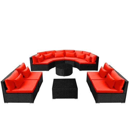 vidaXL Mobilier de jardin 13 pcs avec coussins Résine tressée Rouge