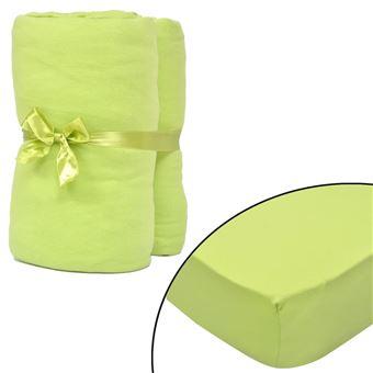 linge de lit 120 x 200 vidaXL 2 draps housses vert pomme en jersey de coton Linge de lit  linge de lit 120 x 200