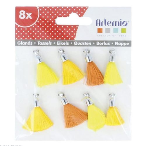 8 pompons jaune-orange