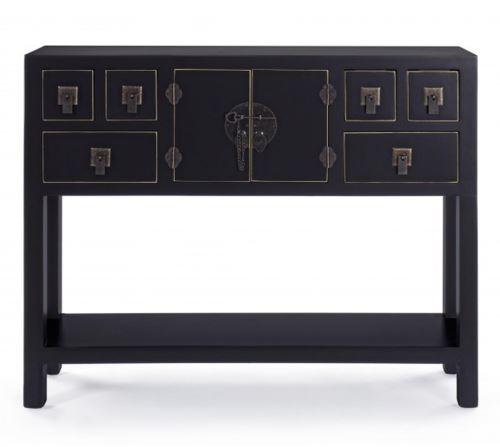 Meuble avec 2 portes et 6 tiroirs coloris noir - Dim : L 94.5 x 24 x P 78 cm -PEGANE