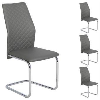 Lot de 4 chaises de salle  manger gris pi¨tement métallique chromé