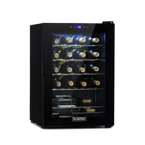 Klarstein Shiraz 20 Slim Uno, Cave à vin réfrigérée compacte 53 L / 20 bouteilles, classe G - Noire