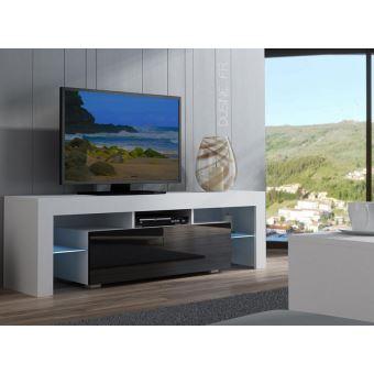 Meuble Tv Spider A Led En Blanc Mat Avec Porte Noir Laque 160 Cm