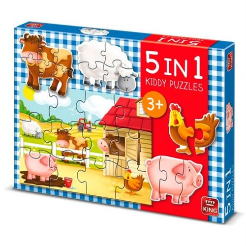 Puzzle 12 Pièces : 5 Puzzles - Kiddy Puzzles 5 in 1, King International
