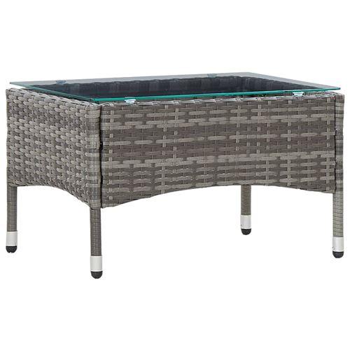 vidaXL Table basse Gris 60x40x36 cm Résine tressée