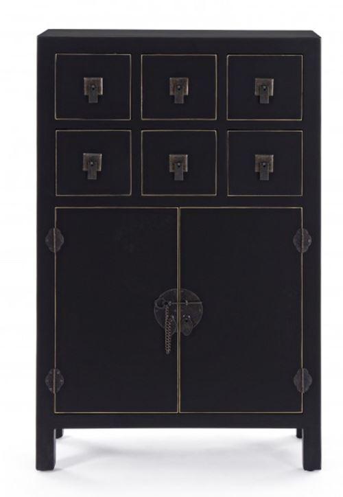 Meuble avec 2 portes et 6 tiroirs coloris Noir - Dim : L 63 x P 26 x H 101 cm -PEGANE