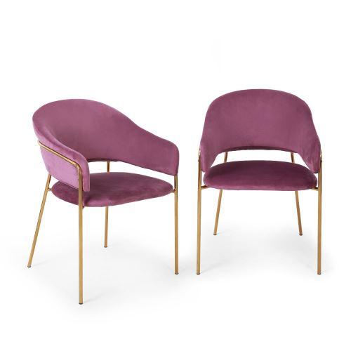 Besoa Salma Lot de 2 chaises de salle à manger - Assise rembourrée - Métal chromé doré - Violet