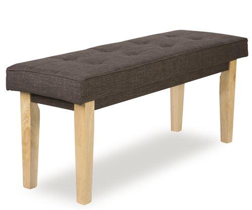 Banc / Banquette en bois et tissu coloris marron - L120 x H 52 x P41 cm -PEGANE-