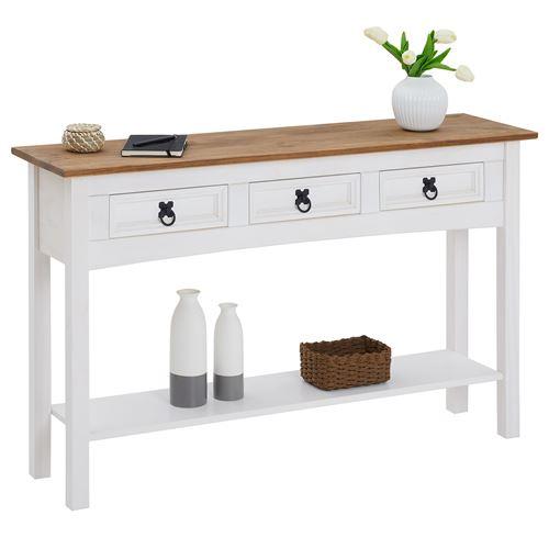 Table console CAMPO avec 3 tiroirs, style mexicain en pin massif blanc et brun