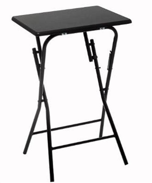 Table d'appoint pliante en MDF et métal coloris noir - L.48 x l.38 x H.64 cm -PEGANE-