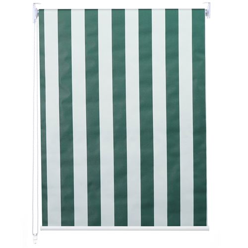 Store à enrouleur pour fenêtres, HWC-D52, avec chaîne, avec perçage, isolation, opaque, 100 x 230 ~ vert/blanc