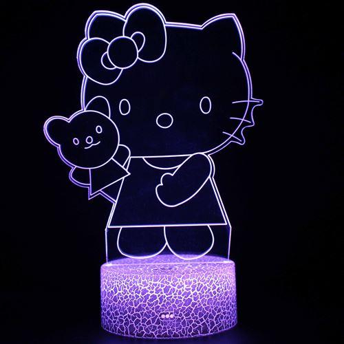Lampe 3D Tactile Veilleuses Enfant 7 Couleurs avec Telecommande - Hello Kitty #1610