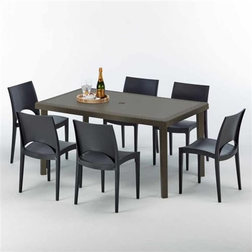 Table rectangulaire 6 chaises Poly rotin resine 150x90 marron Focus, Chaises Modèle: Paris Noir anthracite